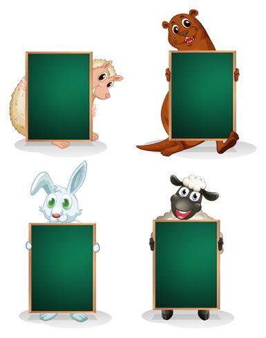 Tafeln vor den Tieren vektor