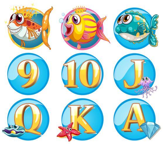 Knöpfe mit Fischen und Buchstaben vektor