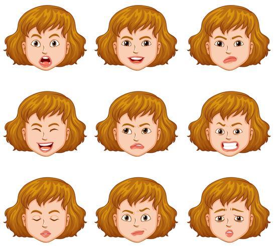 Frau mit verschiedenen Gesichtsausdrücken vektor