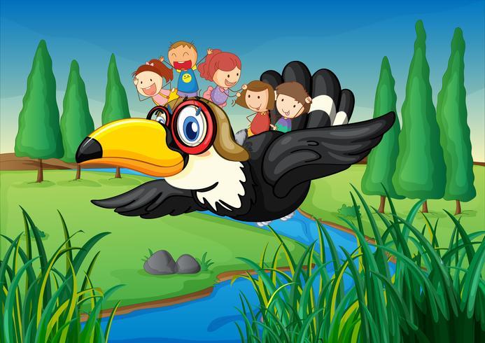ein Fluss, ein Vogel und Kinder vektor