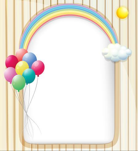 Eine leere Vorlage mit einem Regenbogen und Ballons vektor