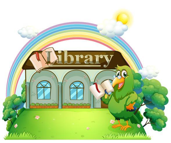 Ein grüner Papagei liest vor der Bibliothek vektor