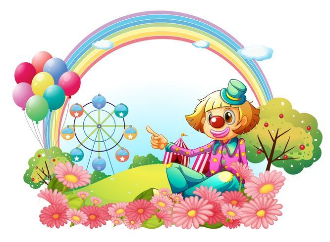 En clown i karnevalen med en trädgård vektor