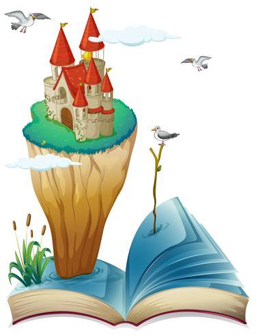 Ein Buch mit einer Insel mit einer Burg vektor