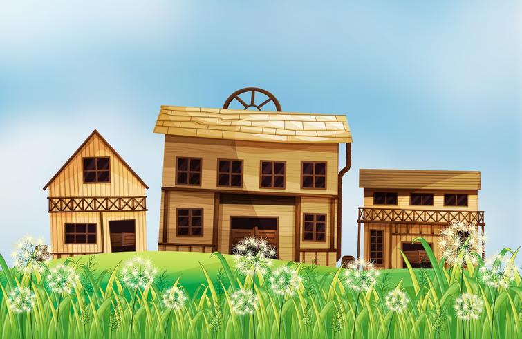 Eine Reihe von Holzhäusern vektor