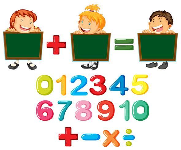 Lyckliga barn och siffror vektor