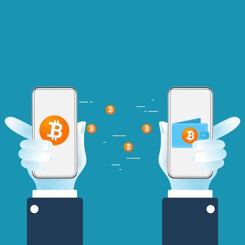 Bitcoin-Kryptowährung, die digitales Geld von einer Brieftasche zu einer anderen Brieftasche überträgt. Mobiles Bitcoin-Geldbörsenkonzept. vektor