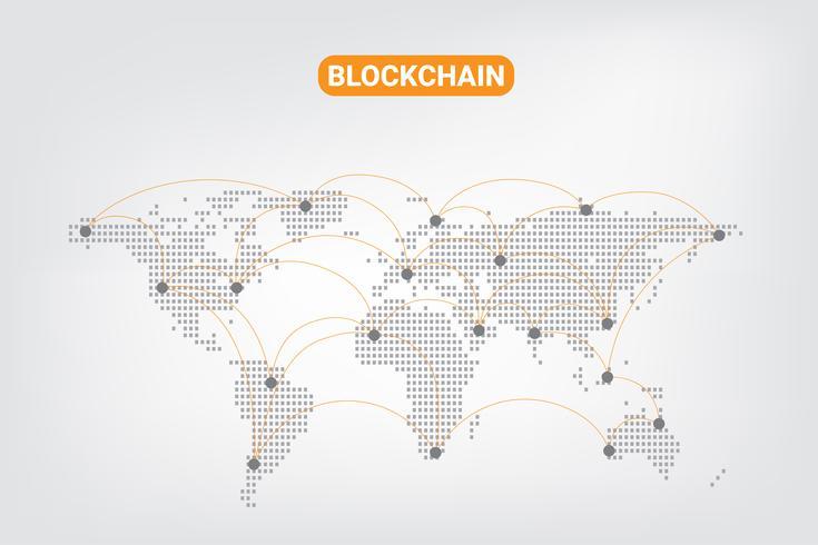 Abstrakt Digital Money Crypto Currency Blockchain nätverksteknik på världskartan Bakgrund. vektor illustration.