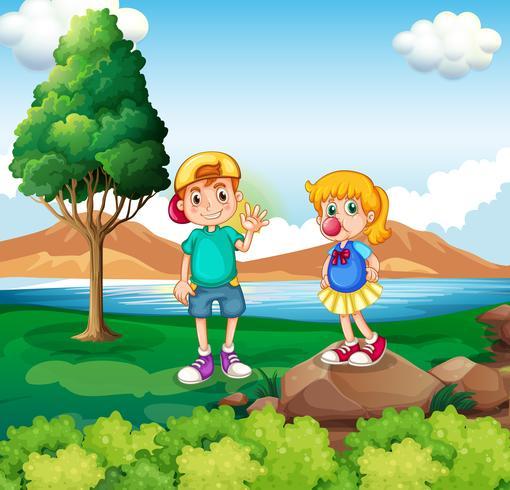 Zwei Kinder am Flussufer vektor