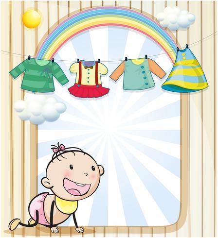 Ein Baby mit hängender Kleidung vektor