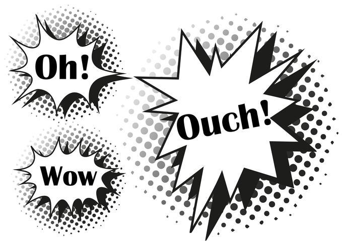 Tre olika uttryck på stänk vektor