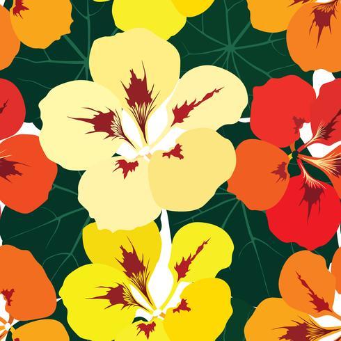 Abstraktes Blumenfliesenmuster. Garten Blumen Hintergrund vektor