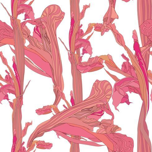 Blommigt sömlöst mönster. Blomma virvla bakgrunden. vektor