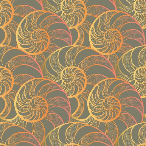Abstraktes gewundenes nahtloses Muster. Wave Nautilus Marine Hintergrund vektor