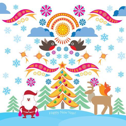 Jul ikoner. Glad vinterferie bakgrund. Dekorativa designelement. vektor
