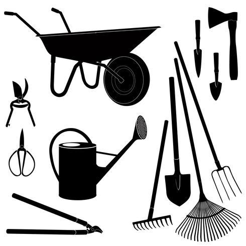 Trädgårdsredskap isolerade. Trädgårdsutrustning siluett uppsättning. vektor