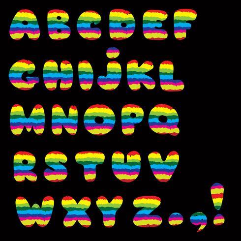 Alphabet. Kinder Stil Linie lateinischen Buchstaben Zeichen Alphabet vektor