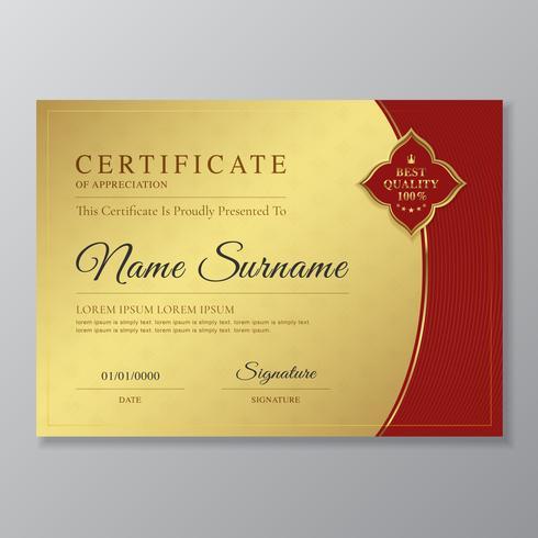 Gyllene och röda certifikat och diplom på uppskattning lyx och modern design mall vektor illustration