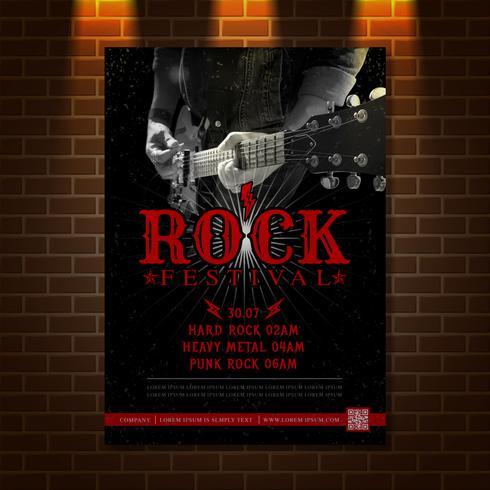 Gitarr hjälte rockmusikfestival affischdesign mall vektor illustration