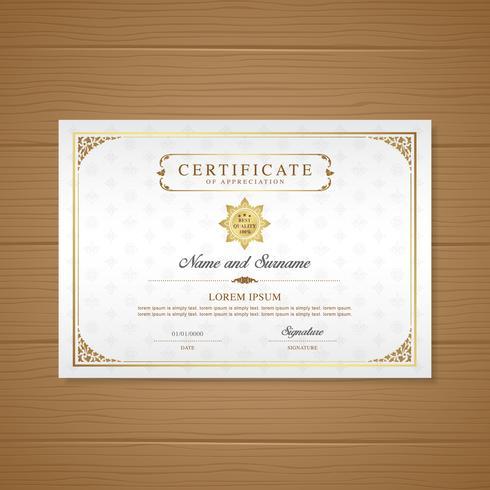 Certifikat och diplom på uppskattning lyx och modern design mall vektor illustration