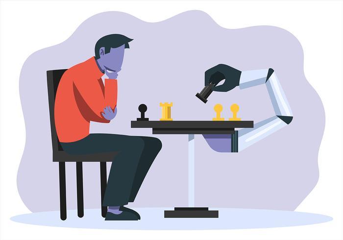 Künstliche Intelligenz und Mensch vektor