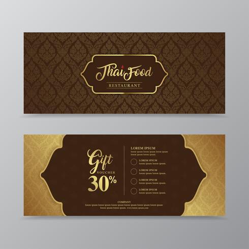Thailändsk mat och thailändsk restaurang lyx gåva kupong design mall för tryckning, flygblad, affisch, webb, banner, broschyr och kort vektor illustration