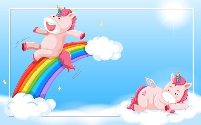 Unicorn på himlen vektor