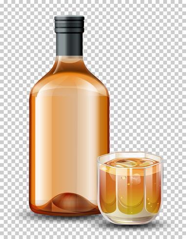 Flaska och glas whisky vektor