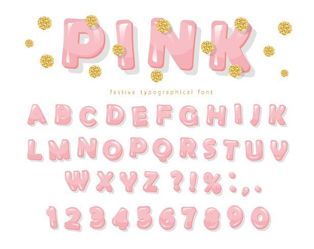Rosa blank typsnitt. ABC bokstäver och siffror för tjejer. Guldglitterkonfetti. vektor