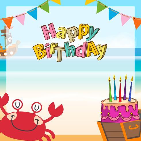 söt piratkopierar födelsedagbakgrund vektor
