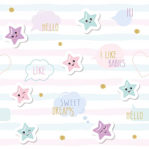 Söt sömlöst mönster bakgrund med tecknad kawaii stjärnor och talbubblor. För små tjejer spädbarn kläder, pyjamas, baby shower design. Pastell rosa, blå och glitter. vektor