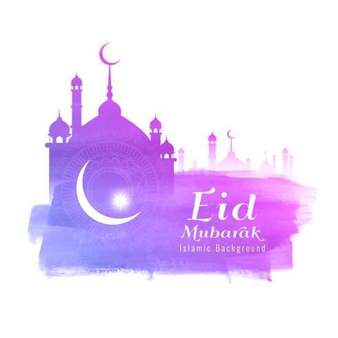 Abstrakt Eid Mubarak akvarell bakgrund vektor