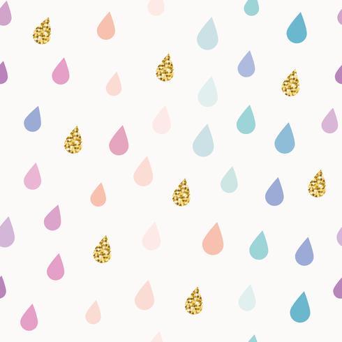 Akvarell droppar sömlöst mönster bakgrund med guld glitter element. vektor