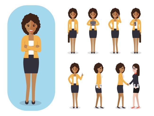 Satz der Geschäftsfrau bei der Arbeit. vektor