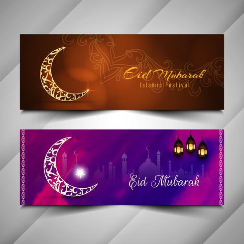 Abstrakt Eid Mubarak stilfulla islamiska bannersats vektor