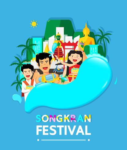 Festivalvektorkarikaturdesign Thailands Songkran vektor