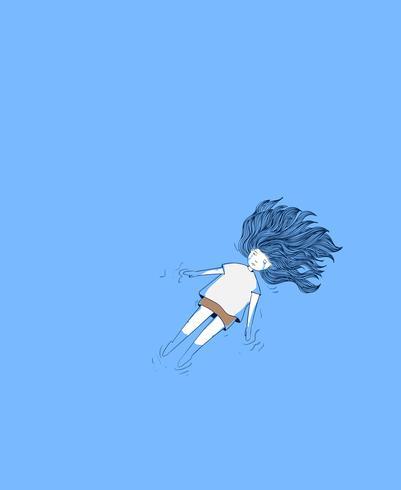 Junges Mädchen im Pool Sie weinte tief Frau, die im blauen Hintergrund schreit vektor
