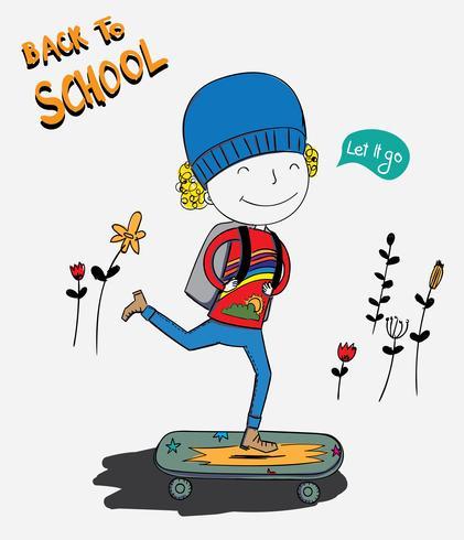 Pojken var skateboard och pojken var väldigt glad att gå till skolan den första dagen vektor