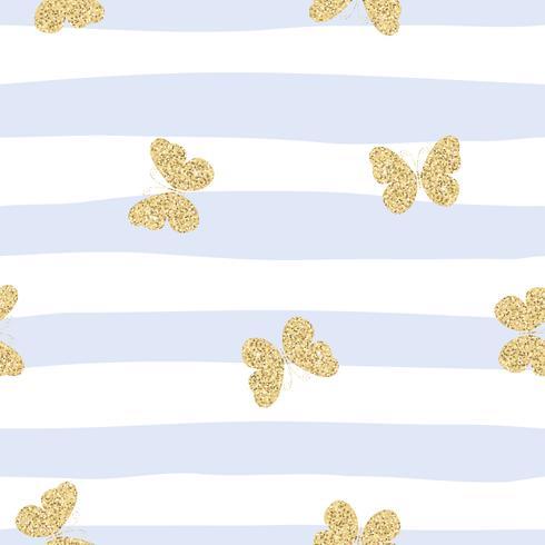 Gyllene gula glittrande fjärilar på blå randig bakgrund. Söt sömlöst mönster. vektor