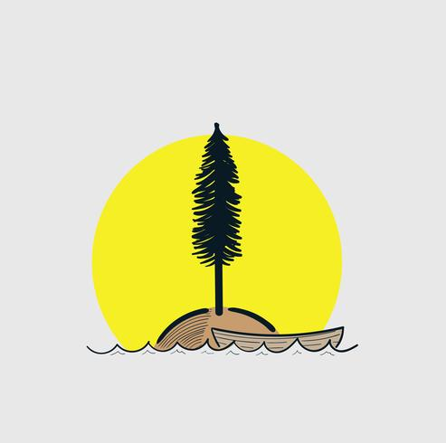 Boot in Sea Island und Bäume. Sun erfuhr, dass dort ein einsamer Mann lebte vektor