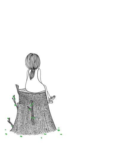 Eine junge Frau, die auf einem Baum sitzt, um auf jemand zu warten. Mädchen mit Einsamkeit vektor