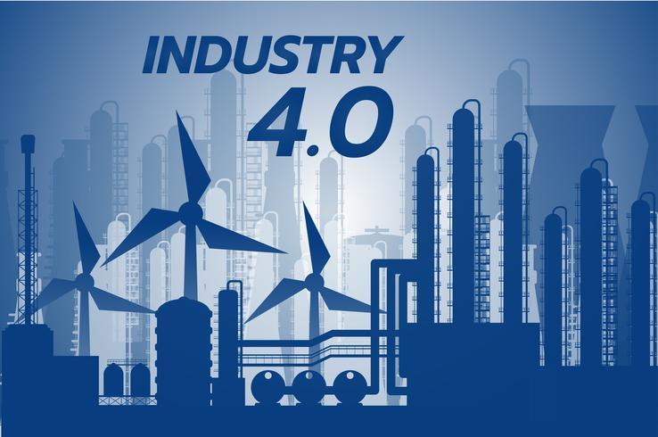 Industrie 4.0-Konzept, Smart Factory-Lösung, Fertigungstechnologie, vektor