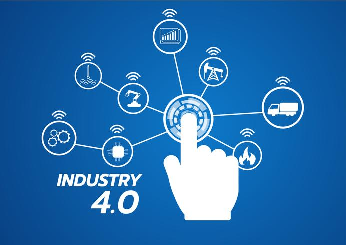 Industrie 4.0-Konzeptbild. Industrielle Instrumente in der Fabrik, Internet der Dinge Netzwerk vektor