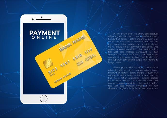 Mobiles Zahlungskonzept, Smartphone mit der Abwicklung von mobilen Zahlungen von der Kreditkarte. Vektor-illustration vektor