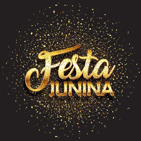 Festa Junina-Hintergrund mit Goldfunkelnkonfettis vektor