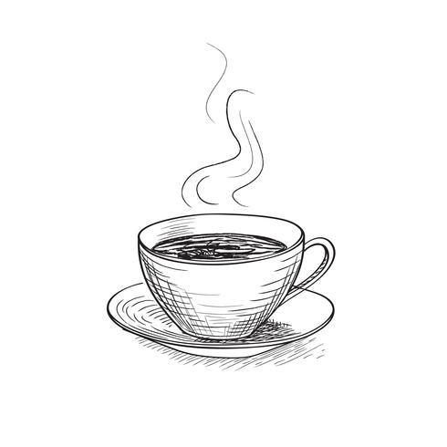 Kopp kaffe gravering isolerad. Kaffepausikon. vektor