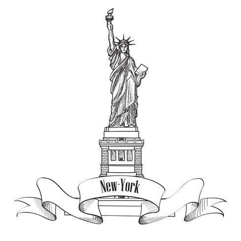Liberty Statue, New York City, USA. Resa USA symbol. vektor