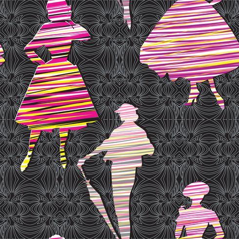 Mode kvinnor bakgrund. Lady retro klänning sömlöst mönster. vektor