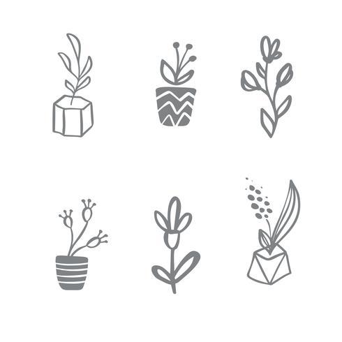 Set med vektor skandinavisk blommig logotyp. Handritad ikon blomma organisk kosmetisk, blomsterhandlare bröllop, heminredning