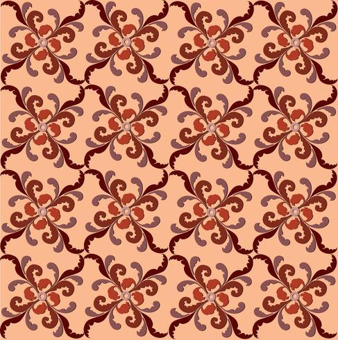 Orientalisk linjemönster abstrakt blommigt prydnad virvlar tyg bakgrund vektor